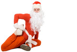 Santa Claus sit on half twine and stretching poster