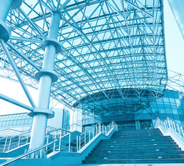 staircase and facade of business shopping center