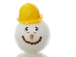 snowman with yellow helmet