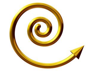 Spirale in Gold mit Pfeil