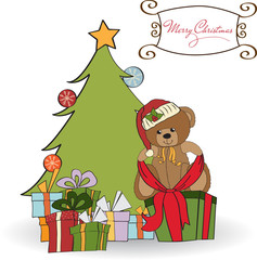 cute teddy bear with a big Christmas gift box