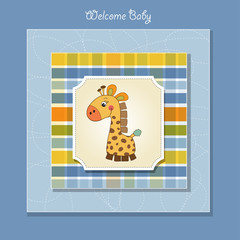 new baby card with giraffe