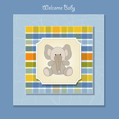 welcome baby card with elephan