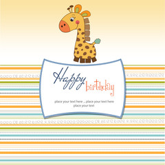 birthday card with giraffe