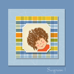 greeting card with curly gir
