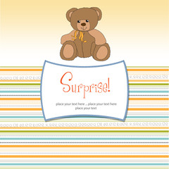surprised greeting card with teddy bear
