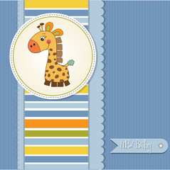 new baby boy announcement card with giraffe