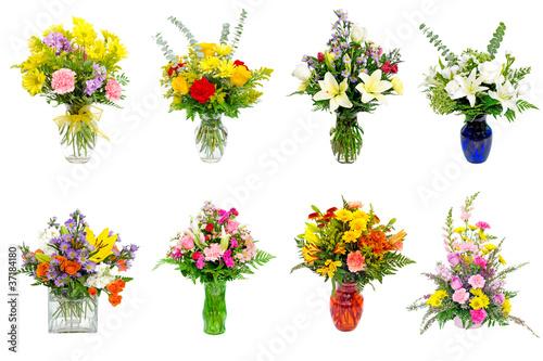 Leinwandbild Motiv Collection of various colorful flower arrangements