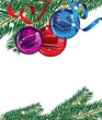 branches of Christmas tree and  decorations