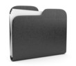 Black leather folder. File 3D.  Icon isolated on white backgroun