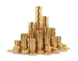 Fototapety Heap gold coin 3D. Business concept. Isolated on white backgroun