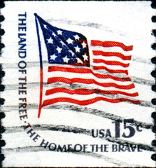 The land of the free. The home of the brave. US Postage.