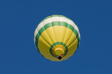 Hot-air balloon airborne, shot from beneath