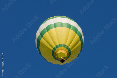 Hot-air balloon airborne, shot from beneath
