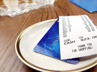 Receipt and credit card.