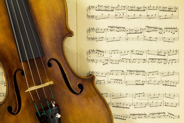 Vintage viola on sheet music background