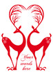 red deers with heart, vector
