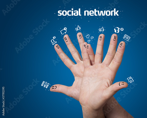 Happy group of finger smileys with social network sign and icons