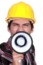 Un travailleur de la construction de déclencher une grève.