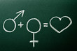 Equation define  relation between male and female on green black