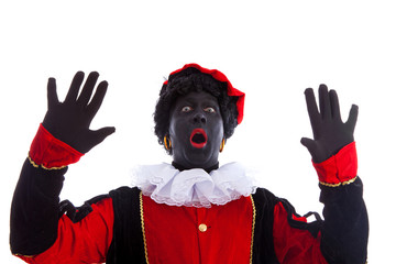 zwarte piet ( black pete) is looking surprised