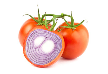 Tomatoe with onion inside