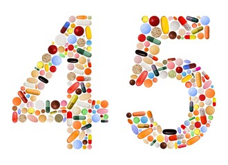 Numbers 4 and 5 made of various colorful pills