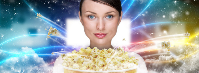 Portrait of young stylish modern woman  watching movie at modern
