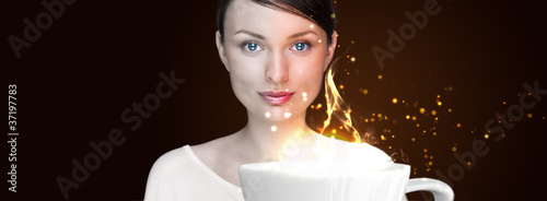Beauty Girl With Cup of Coffee. Advertisement poster or wallpape