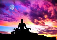 Yoga meditation silhuett pose