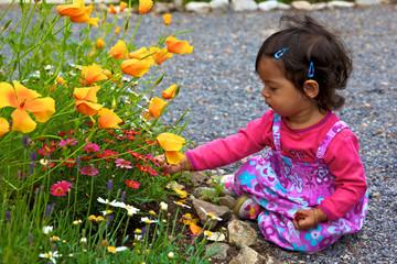 petit enfant ramasse des fleurs dans le jardin