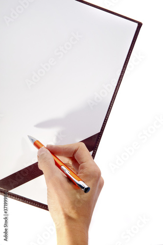 Writing hand on blank board