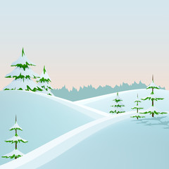 Winter styled landscape with fir trees