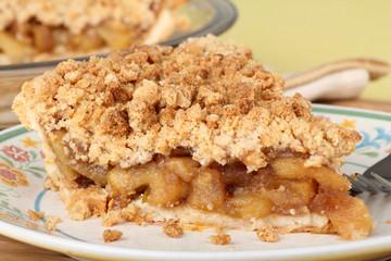 Apple Crumb Pie Closeup