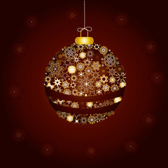 Christmas decoration made from golden snowflakes