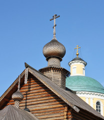 domes of the orthodox church in sun light