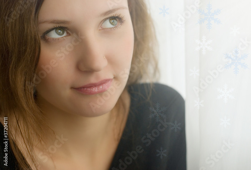 Portrait with snowflakes