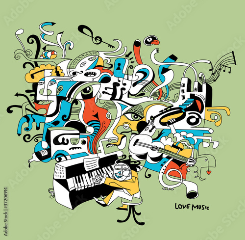 creative illustration of musician playing on piano
