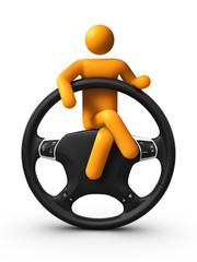 Sitting on Steering wheel