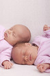 eineiige Zwillinge - Schwestern schlafen auf dem Sofa