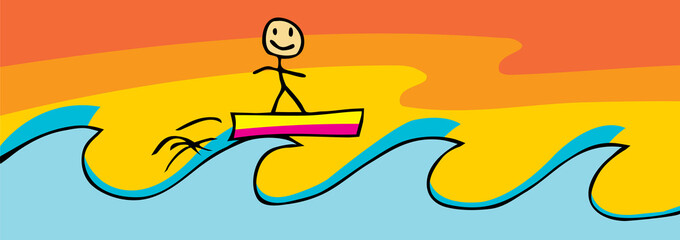 Surfing Stick Figure