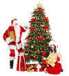 Girl and Santa clause by Christmas tree.