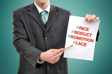 Businessman with marketing strategy