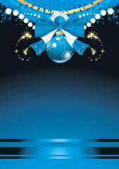 Blue Christmas ball with bow and tinsel. Festive background