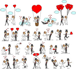 Свадебная фотография, жених и невеста в любви, вектор