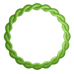 Round frame is twisted out of leather is green.