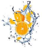 Oranges with water splash, isolated on white background