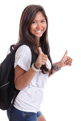 Asian college girl giving thumbs up