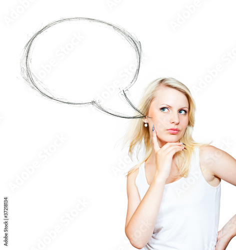 Blonde girl near speech bubble