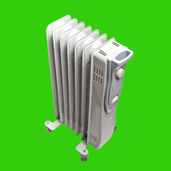 oil electric heater Isolated on green background with clipping p